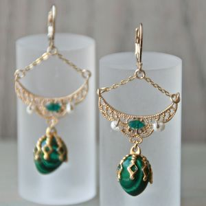Malachite Eggs And Golden Earrings
