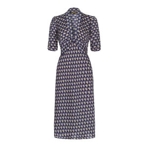 1940s Style Midi Dress In Navy Fan Print Crepe