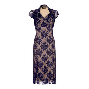 Lace Dress With Sweetheart Neckline In French Navy