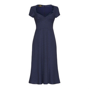 Katrina Dress In Wedgewood And Blue Print Crepe