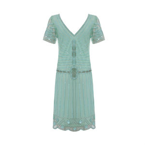 Eleanor Mint Flare Sleeves Flapper Embellished Dress