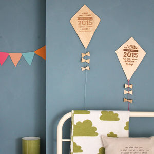 Personalised Wooden Birth Details Kite - wall hangings for children