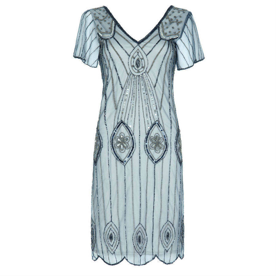 art deco flare sleeves embellished flapper dress by gatsbylady ...