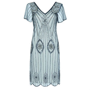 Art Deco Flare Sleeves Embellished Flapper Dress