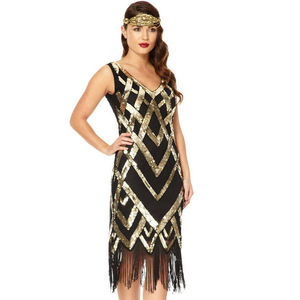 Glitz Vintage Inspired Flapper Embellished Fringe Dress - dresses