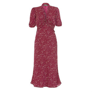 1940s Style Midi Dress In Ruby Heart Print