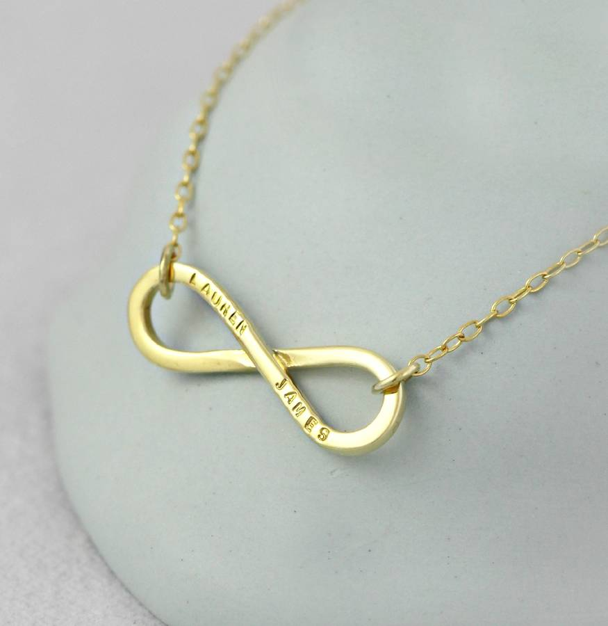 infinity necklace gold. personalised 9ct yellow gold infinity necklace in solid