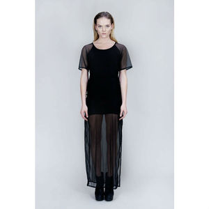 Sheer Mesh Panelled Dress - new season women's fashion
