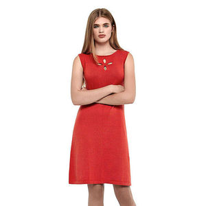 Women's Coral Red Pure Cotton Dress - summer clothing