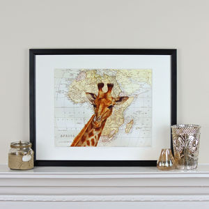 Giraffe And Map Of Africa Print