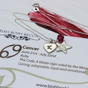 Personalised Zodiac And Crystal Birthstone Necklace - necklaces & pendants