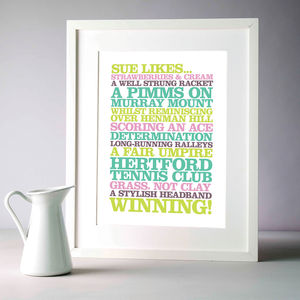 Personalised 'Likes' Poster Print - living room