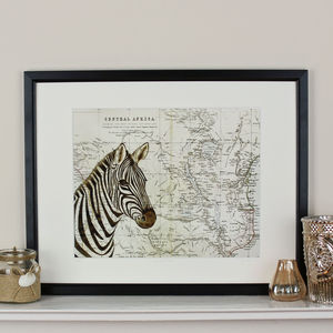 Zebra And Map Of Africa Print - maps & locations