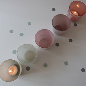 Set Of Five Pastel Frosted Glass Tea Light Holders - room decorations