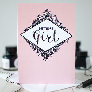 'Birthday Girl' Illustrated Birthday Card - birthday cards