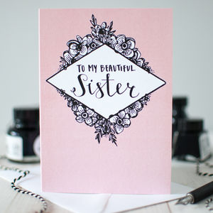'My Beautiful Sister' Illustrated Greeting Card