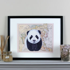 Panda And Map Of Asia Print - maps & locations