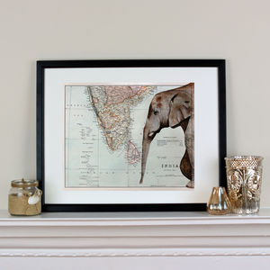Elephant And Map Of India Print - frequent traveller
