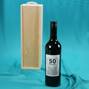 50th Birthday Wine Bottle Personalised Gift