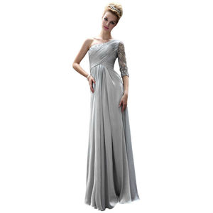 Jeweled Asymmetrical Silver Prom Dress - dresses