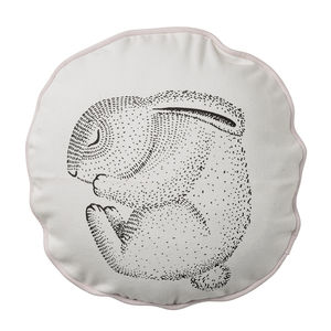 Illustrated Sleeping Rabbit Cushion