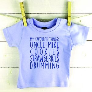 'My Favourite Things' Personalised Baby T Shirt