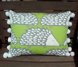 Hedgehog Cushion With Pom Pom Trim