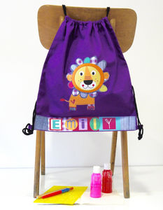 Girls Cotton Lion Drawstring Bag