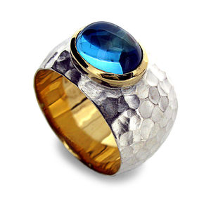 Blue Topaz Hammered Silver And Gold Ring