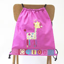 Girls Giraffe Drawstring Bag