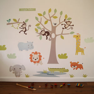 Pastel Jungle Safari Wall Stickers - winter sale