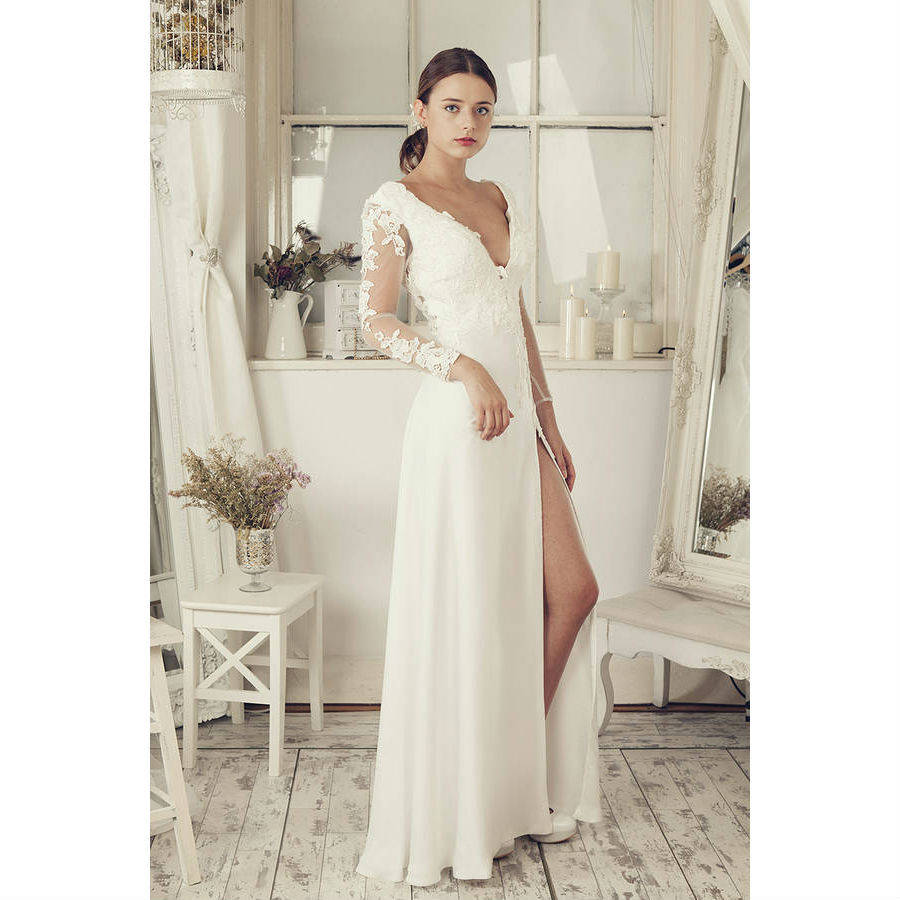 Wedding Dresses Affordable London : Gt elliot claire london long sleeves soft white wedding dress