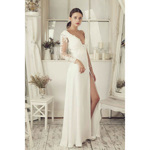 Long Sleeves Soft White Wedding Dress - wedding dresses