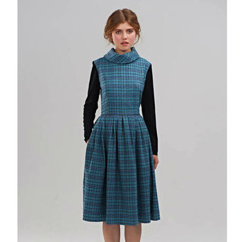 Betsy Blue Checkered Dress With Jersey Sleeves