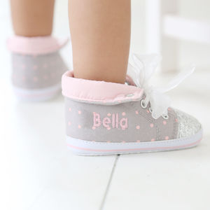 Personalised Glitter High Top Trainers - for babies