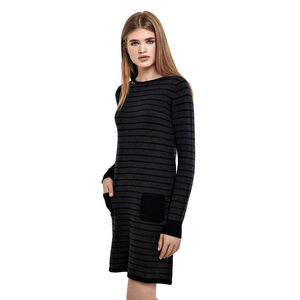 Breton Grey Striped Sweater Dress In Cotton