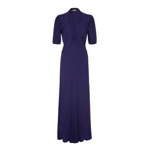 1940s Style Maxi Dress In French Navy Crepe