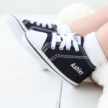 Personalised High Top Canvas Baby Shoes
