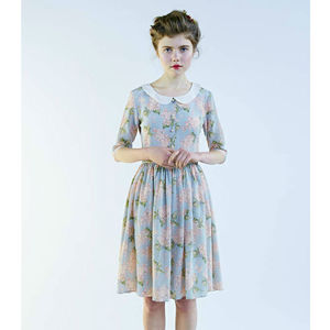 40s Silk Dress With Peter Pan Collar