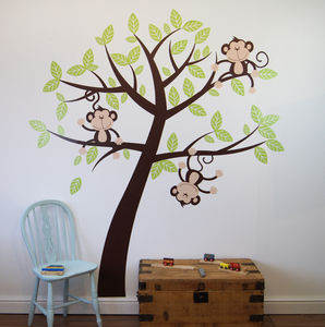Childrens Cheeky Monkey Tree Wall Stickers - children's room accessories
