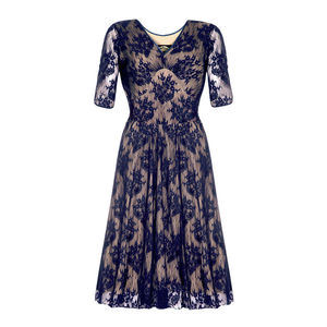 Party Dress With V Neckline In French Navy Lace - sale