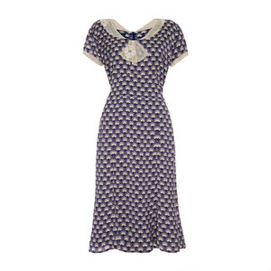 1940's Style Day Dress In Navy Fan Print Crepe
