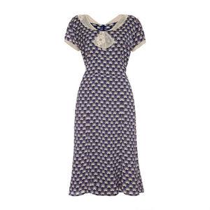 Annabelle Dress In Navy Fan Print Crepe - dresses