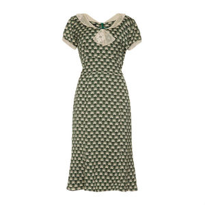 1940's Style Dress In Emerald Fan Print Crepe