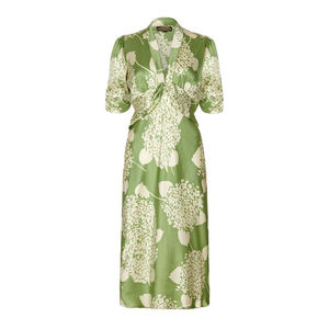 1940s Style Midi Dress In Green Hydrangea Silk Satin