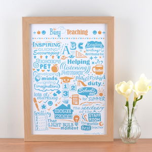 'Busy Teaching' Typographic Art Print - prints & art sale