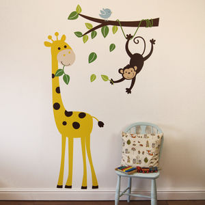 Monkey Branch And Giraffe Wall Stickers - bedroom