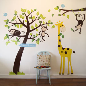 Animals And Tree Wall Sticker - bedroom