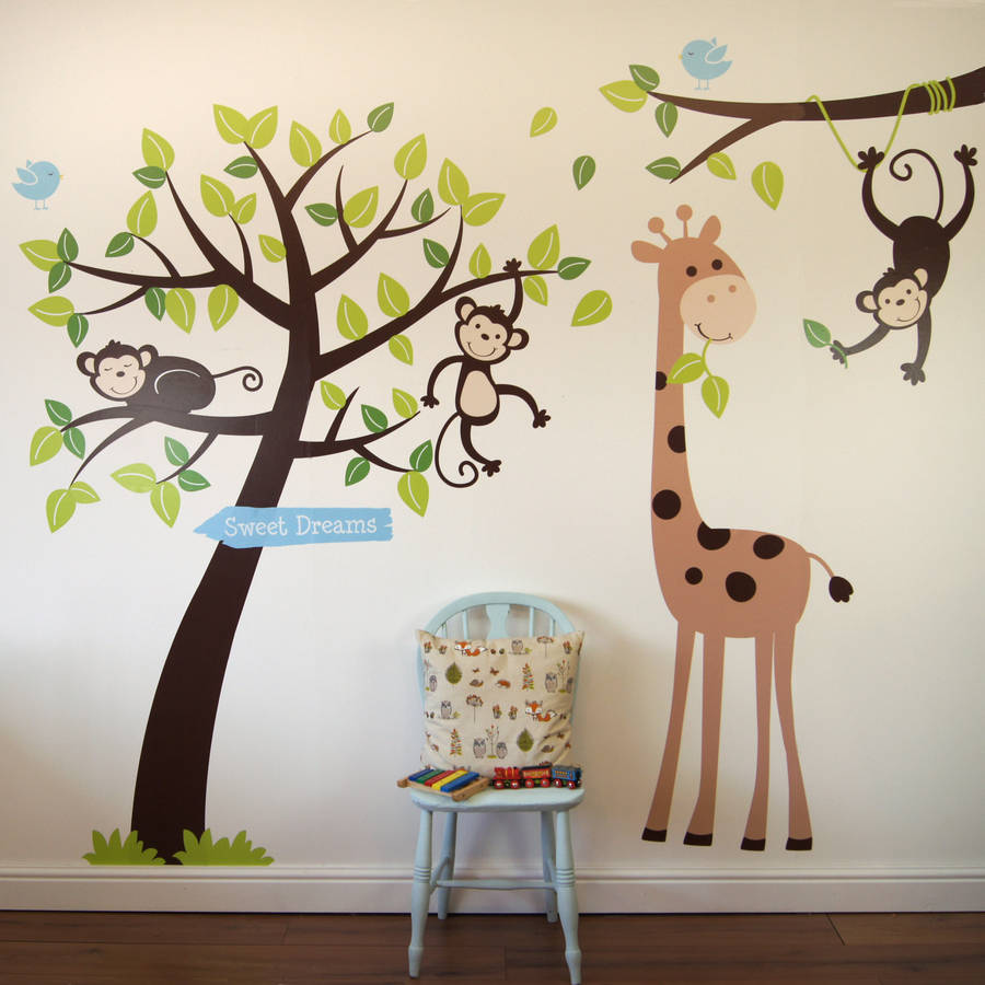Delightful Animals And Tree Wall Sticker