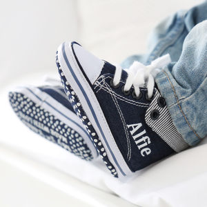 Personalised Denim Boys High Top Trainers - gifts for babies